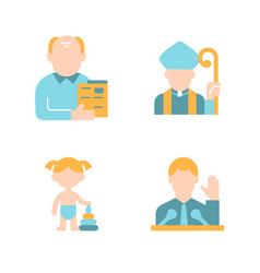 Social groups flat color icon set vector