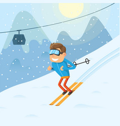 Sports man riding a winter ski on snow slope on vector