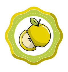 Sticker green apple fruit icon stock vector