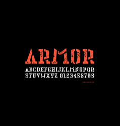 stock stencil-plate serif font in military style vector image