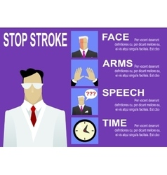 Stroke warning signs and symptoms vector