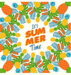 summer greeting card of tropical pineapple vector image