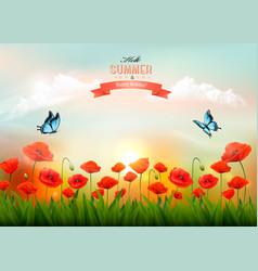 summer nature background with red poppies and a vector image