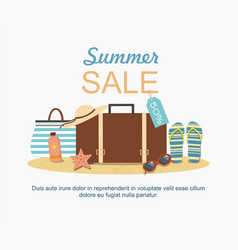 Summer suitcase and beach accessories on sand vector