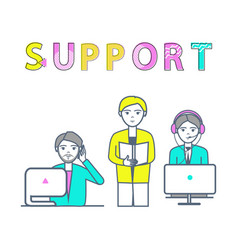 support center poster with workers receiving calls vector image