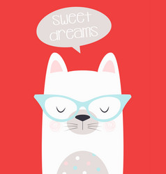sweet dreams card with cat vector image