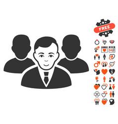 Team icon with valentine bonus vector