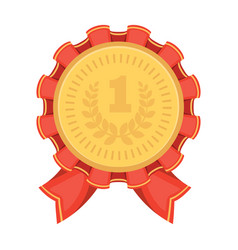 The award for first placegold medal with the red vector