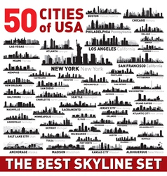 The Best city skyline silhouettes set vector