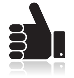 Thumb up black glossy icon vector image