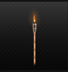 torch flame with long wooden handle realistic vector image