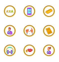 Translate icons set cartoon style vector