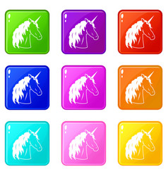Unicorn set 9 vector