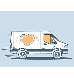 Van free and fast delivering heart to cus vector