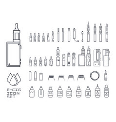 vecor set of vape related simple line icons rda vector image