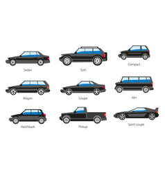 Vehicle body types car carcass shape and model vector