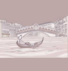 Venetian gondola near realto bridge vector