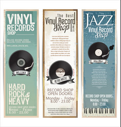 Vinyl record shop retro grunge banner 6 vector