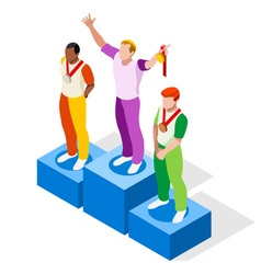 Winner Podium 2016 Sports Isometric 3D vector