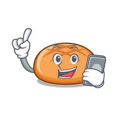 With phone hamburger bun character cartoon vector