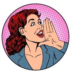 Woman businesswoman calling advertises agitates vector