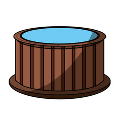 wooden jacuzzi spa vector image