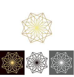 a set of ancient geometric linear figures for vector image