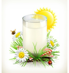 cup of milk in grass vector image vector image