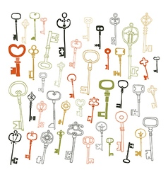 Decorative vintage keys doodles vector image