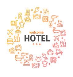 hotel round design template line icon concept vector image