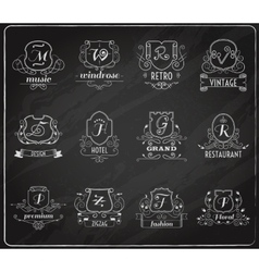Monogram shields chalkboard set vector image