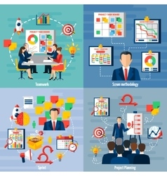Scrum agile 4 flat icons square vector