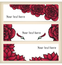 Banners with doodling flowers like roses in tattoo vector image vector image