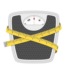 bathroom floor weight scale and measuring tape vector image