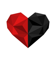 black and red origami heart vector image vector image