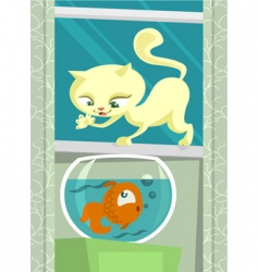 cartoon cat hunting fish vector image