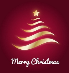 Elegant gold Christmas tree with glow vector image
