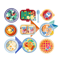 Food icon set plates with different dishes green vector