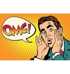 OMG Surprised emotional pop art retro business man vector image vector image