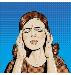 Woman in stress has headache vector image vector image
