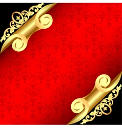 background with corners curl of gold and ornaments vector image