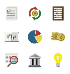 Flat icon finance set of interchange counter vector