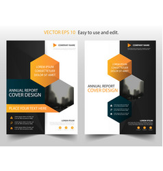 orange black hexagon annual report brochure vector image
