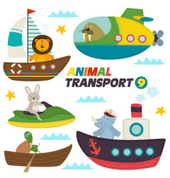 set of isolated sea transports with animals vector image vector image