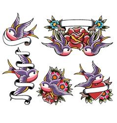 swallow tattoo design vector image vector image