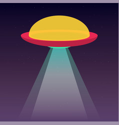 ufo spaceship with light beam in space stars on vector image
