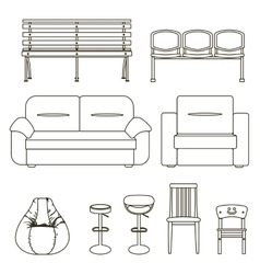 Black and white set of seats vector image