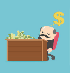 businessman sleeping on the table have money vector image