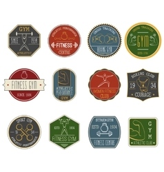 Fitness vintage labels set vector image