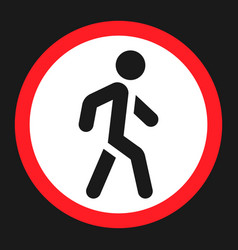 no pedestrians sign flat icon vector image vector image